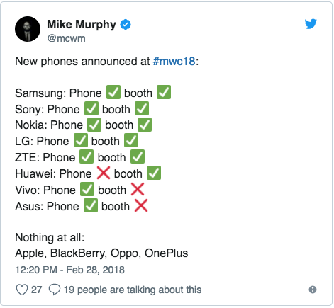Tweet about New Smartphones at MWC 2018