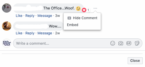 Deleting Facebook comments