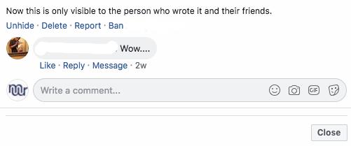 Deleting Facebook comments