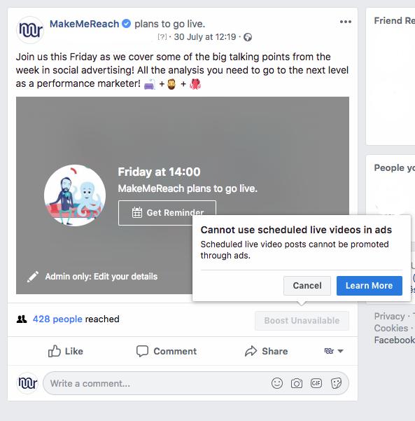 Facebook Live Boost Unavailable