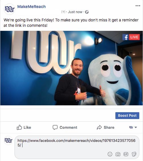 Facebook Live boost workaround